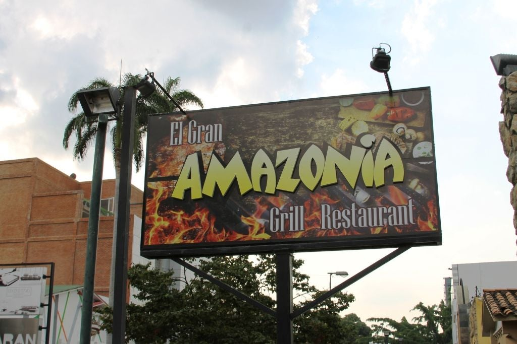 Signage in Amazonia Grill