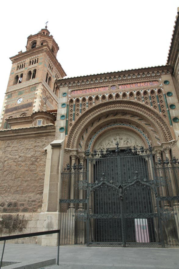 Facade in Teruel Cathedral and the Mudéjar Towers