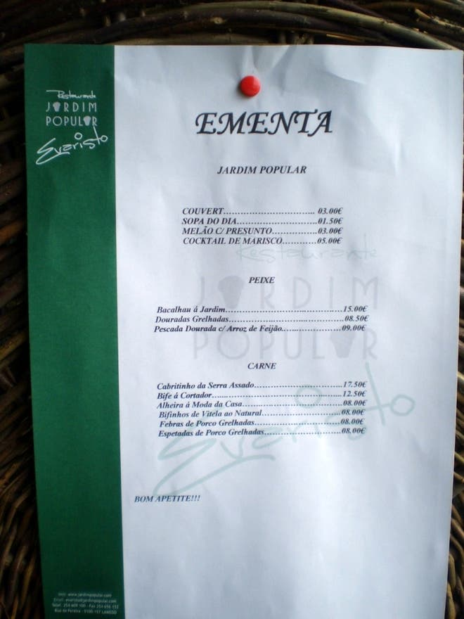Documento en Restaurante Jardim Popular