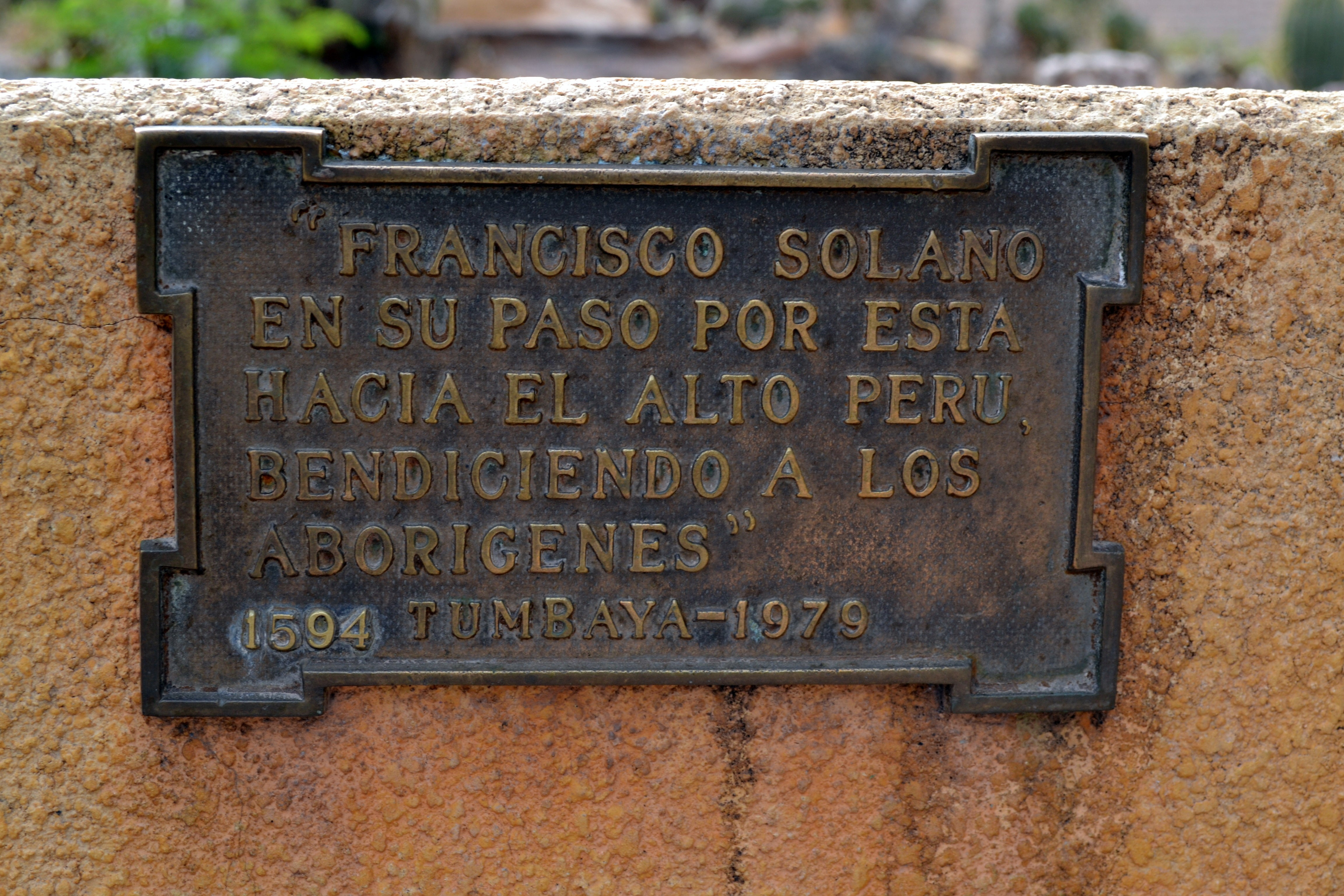 Commemorative Plaque in Plaza de Tumbaya