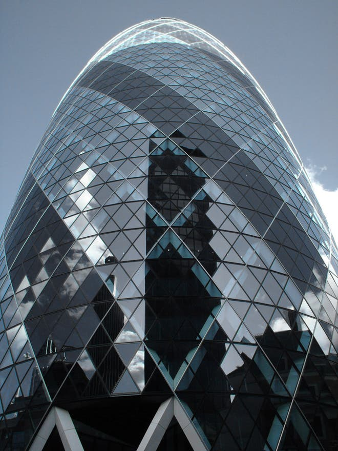 Vidrio en Swiss Re Tower - Torre Gherkin
