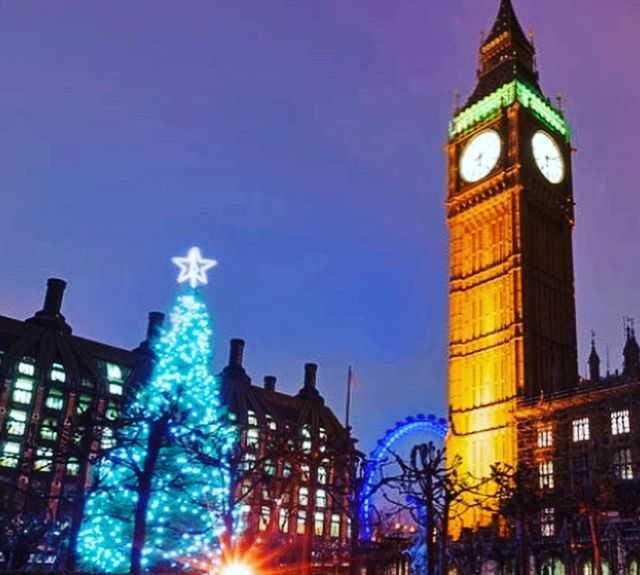 Torre en Navidad en Londres