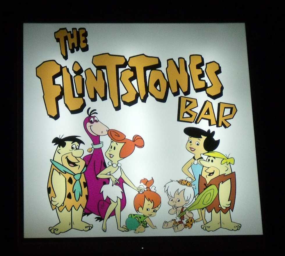 Dibujo animado en The Flinstones pub-bar