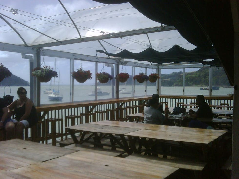 Toldo en Mangonui Fish Shop
