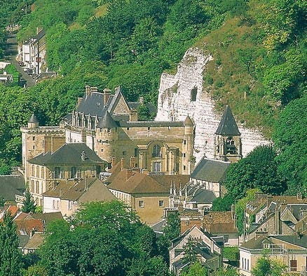 Vista aérea em La Roche-Guyon